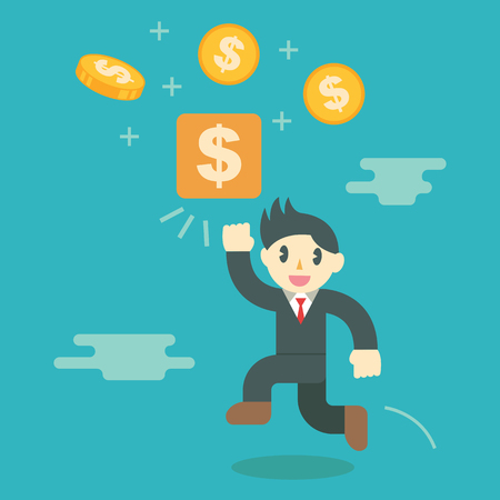 success business: make money concept, business cartoon vector