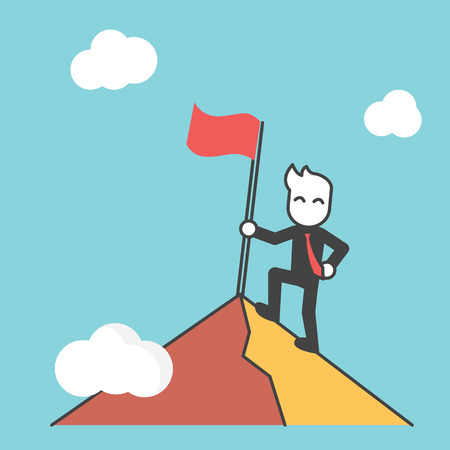 successful businessman: businessman at the top of mountain, successful concept, vector cartoon design