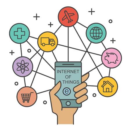사물의 인터넷, 기술 개념, 벡터 개요 디자인 일러스트