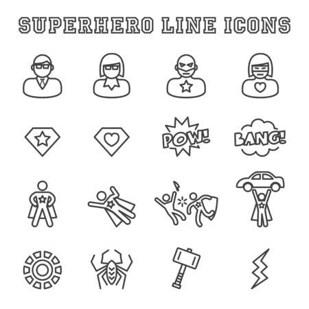 superhero line icons, mono vector symbols