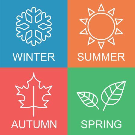 four season: four season logo, outline flat vector design Illustration