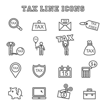 ingresos: iconos de líneas impuestos, símbolos mono vector Vectores