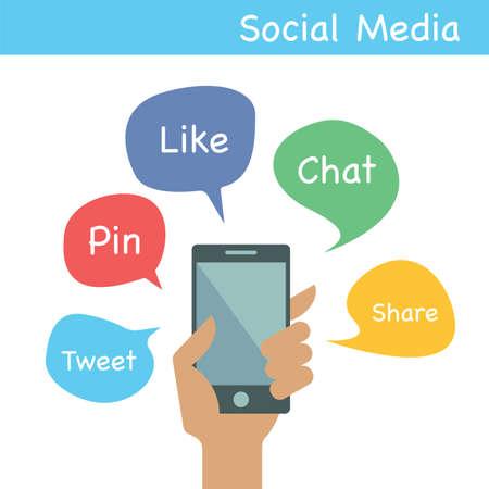 tweet balloon: smartphone with social media applications, flat vector design