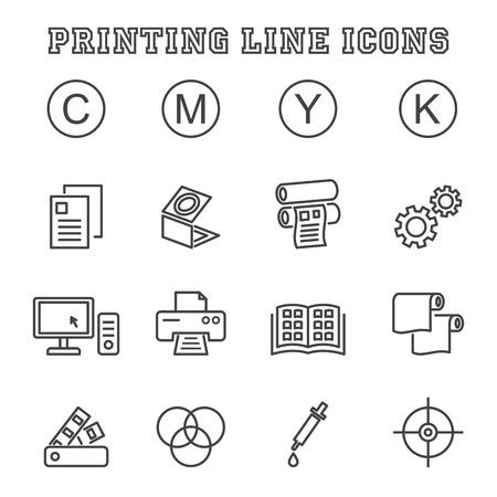 afdrukken lijn iconen, mono vectorsymbolen