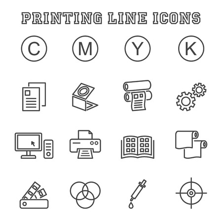 printing line icons, mono vector symbols Illustration