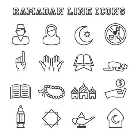 ramadan line icons, mono vector symbols Illustration