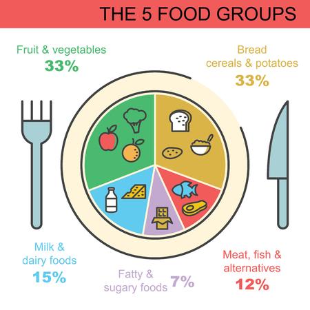? group: el diseño de los grupos de alimentos, 5 infografía vector de esquema