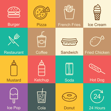 fast food outline design, vector infographic elements