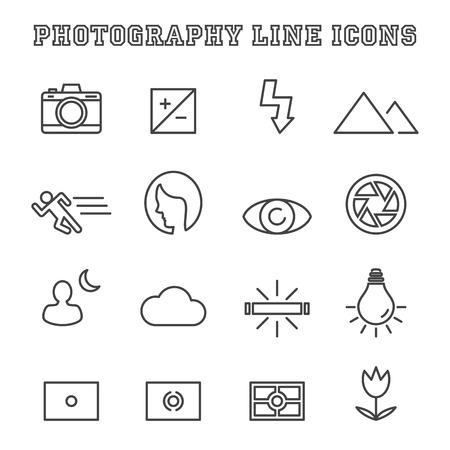 Icone fotografia linea, simboli mono vettore