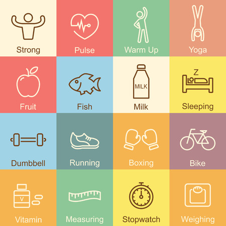 boxing tape: healthy outline design, vector infographic elements