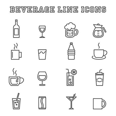bebida: Ícones de linha de bebidas, símbolos mono vetor