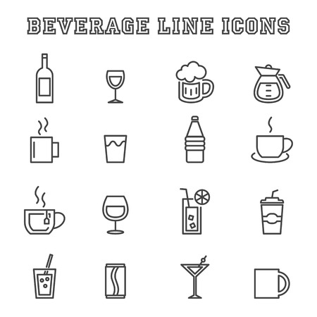 beverage: beverage line icons, mono vector symbols