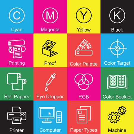printing outline design, vector infographic elements