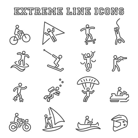 water skiing: extreme line icons, mono vector symbols Illustration