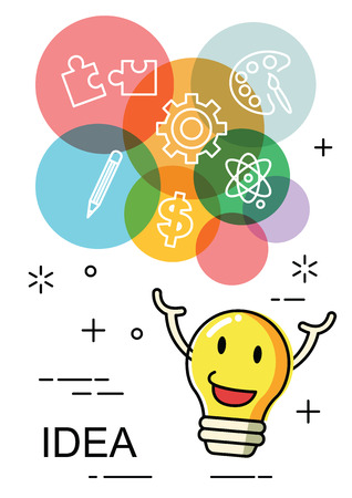 children studying: colorful idea with light bulb cartoon, vector design in size a4