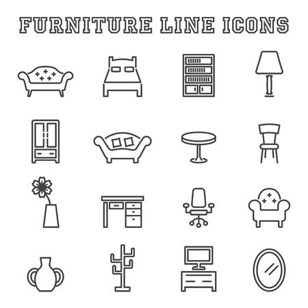 interior design: furniture line icons, mono vector symbols