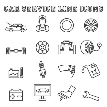 icônes de la ligne de service automobile, symboles de vecteur de mono