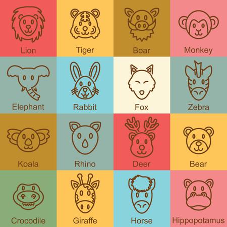 lion dog: wild animal outline design, vector infographic elements Illustration