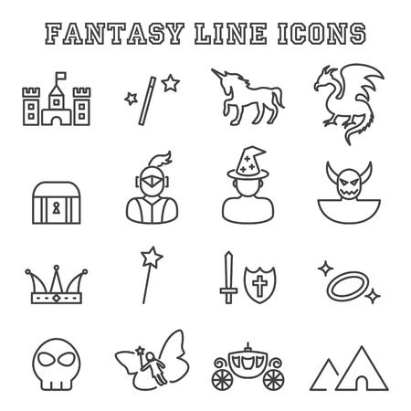 shield and sword: fantasy line icons, mono vector symbols