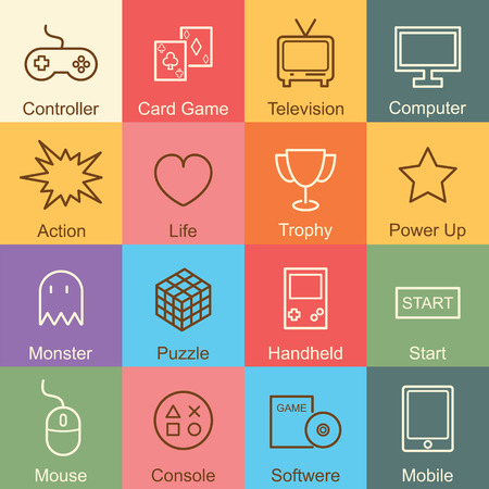 handheld device: game outline design, vector infographic elements