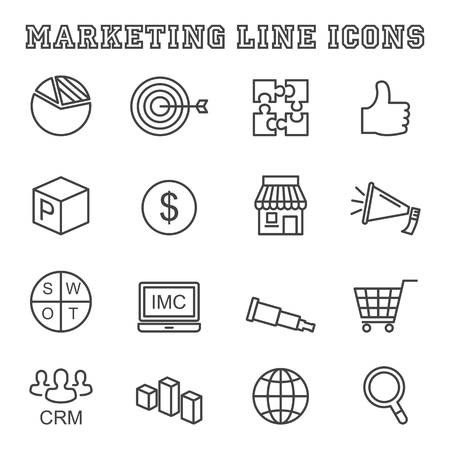 online logo: marketing line icons, mono vector symbols