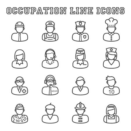 hostess: occupation line icons, mono vector symbols