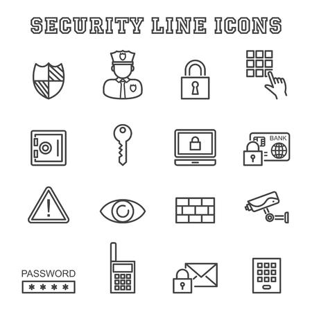 veiligheid lijn iconen, mono vectorsymbolen