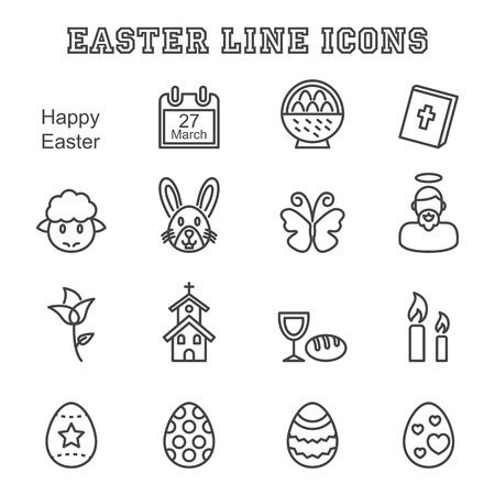 lamb of god: easter line icons, mono vector symbols Illustration