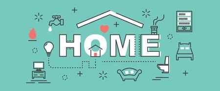 minimal: home outline banner, vector minimal design
