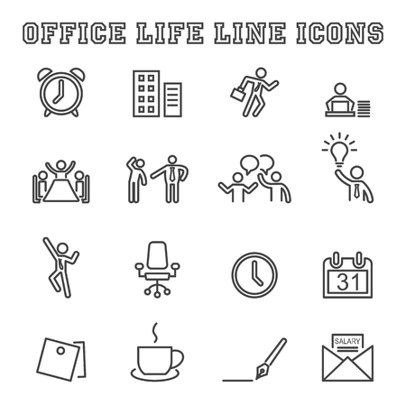 busy life: office life line icons, mono vector symbols