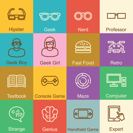 yong: geek outline design, vector infographic elements Illustration