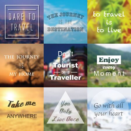 travel background: travel quotes with blurred vector background