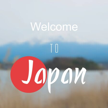mount fuji: welcome to japan with mount fuji blurred vector background