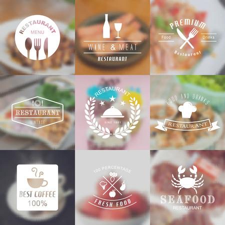 restaurant vintage logo with blurred vector background Logo