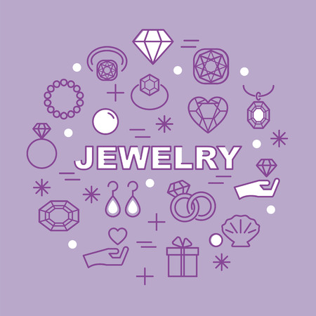 pebbles: jewelry minimal outline icons, vector pictogram set Illustration