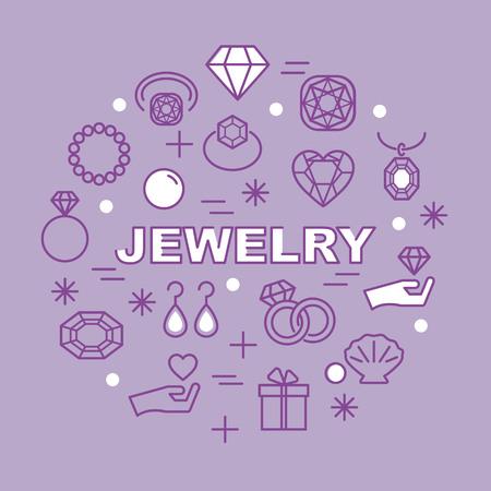 white pebble: jewelry minimal outline icons, vector pictogram set Illustration