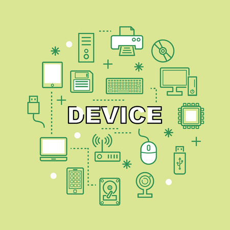 lcd monitor printer: device minimal outline icons, vector pictogram set Illustration