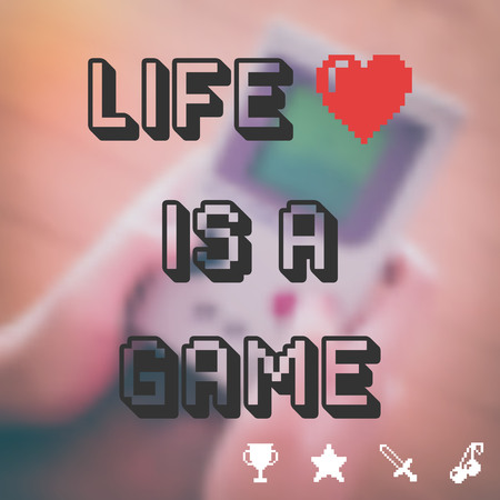 sword and heart: life is a game with blurred vector background