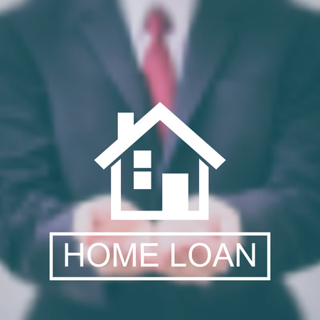 home loan logo with vector blurred background