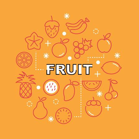fruit minimal outline icons, vector pictogram set