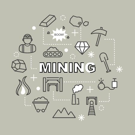 conveyor rail: mining minimal outline icons, vector pictogram set