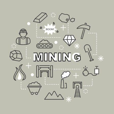 conveyor rail: mining minimal outline icons, vector pictogram set