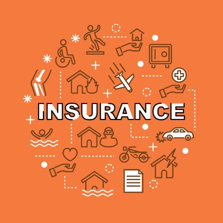 insurance minimal outline icons, vector picogram set