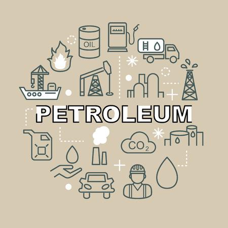 fuel truck: petroleum minimal outline icons, vector pictogram set