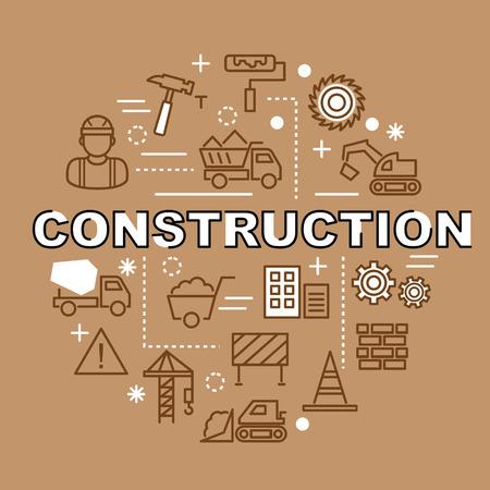roller brush: construction minimal outline icons, vector pictogram set
