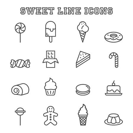 sweet line icons, mono vector symbols