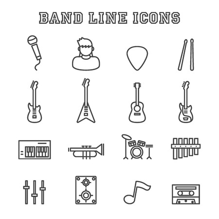 piano roll: band line icons, vector pictogram set Illustration