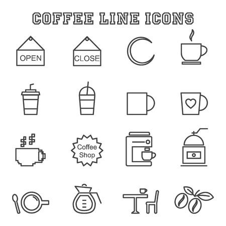 mono: coffee shop line icons, mono vector symbols Illustration