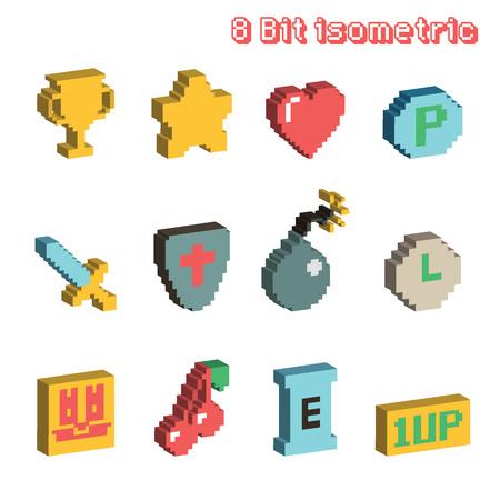 8 bit isometric icons Illustration