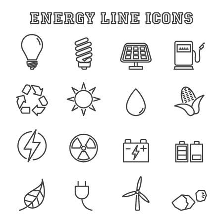 neon plant: energy line icons, mono symbols
